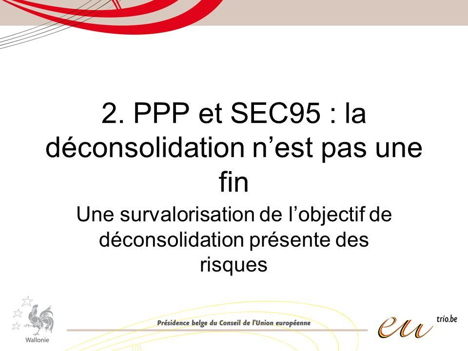 2. PPP et SEC95 : la déconsolidation nest pas une fin Une survalorisation de lobjectif de déconsolidation présente des risques