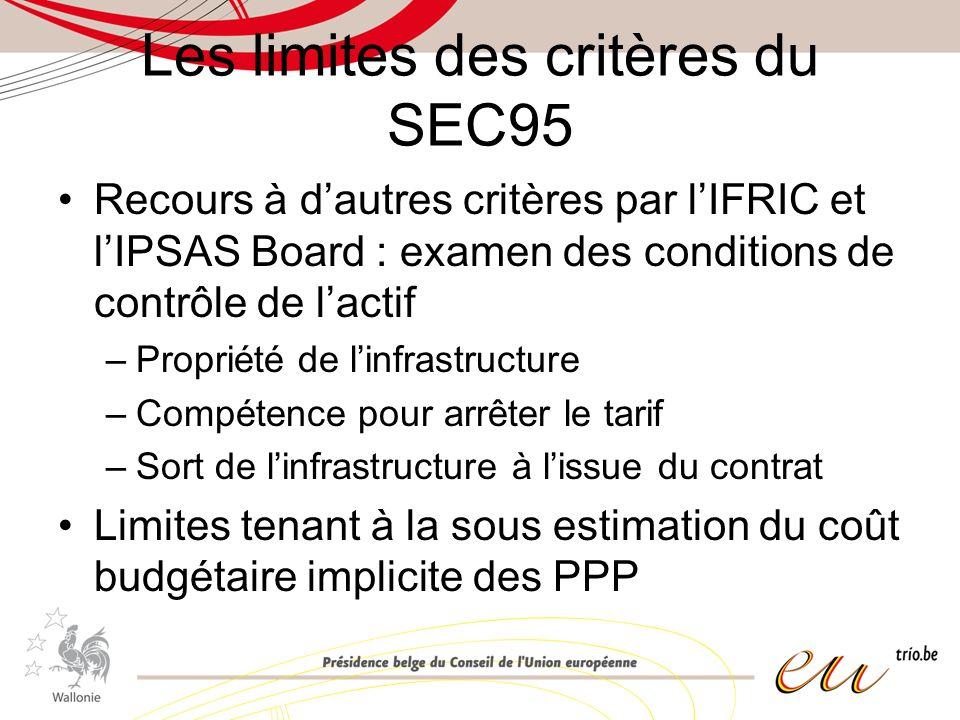 Les limites des critères du SEC95 Recours à dautres critères par lIFRIC et lIPSAS Board : examen des conditions de contrôle de lactif –Propriété de linfrastructure –Compétence pour arrêter le tarif –Sort de linfrastructure à lissue du contrat Limites tenant à la sous estimation du coût budgétaire implicite des PPP