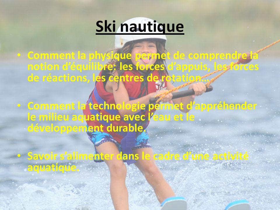 Ski nautique Comment la physique permet de comprendre la notion déquilibre: les forces dappuis, les forces de réactions, les centres de rotation… Comment la technologie permet dappréhender le milieu aquatique avec leau et le développement durable.
