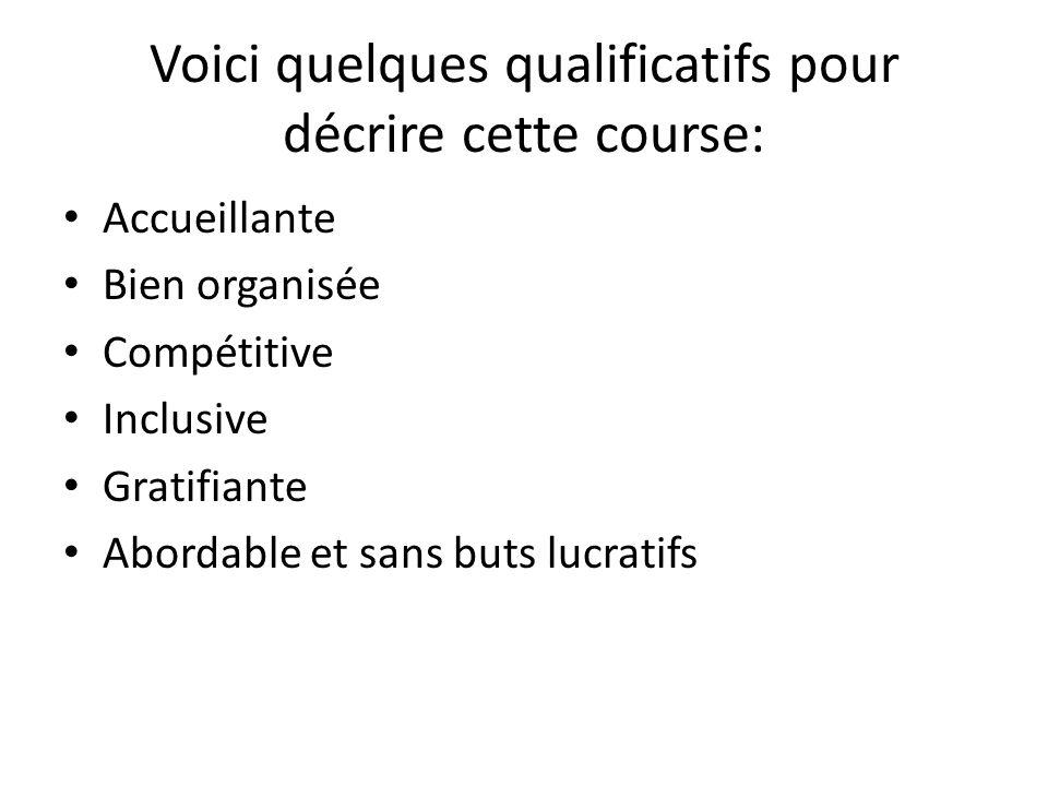Voici quelques qualificatifs pour décrire cette course: Accueillante Bien organisée Compétitive Inclusive Gratifiante Abordable et sans buts lucratifs