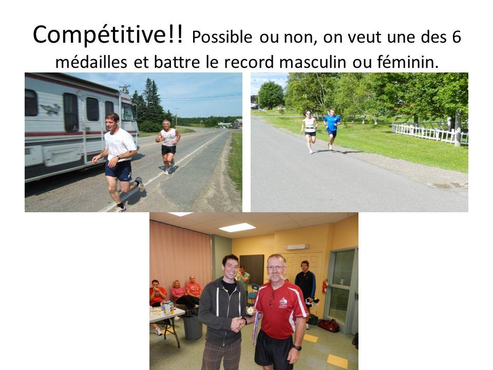 Compétitive!! Possible ou non, on veut une des 6 médailles et battre le record masculin ou féminin.