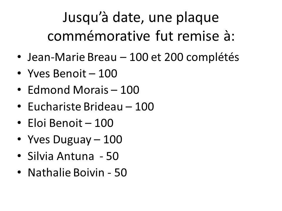 Jusquà date, une plaque commémorative fut remise à: Jean-Marie Breau – 100 et 200 complétés Yves Benoit – 100 Edmond Morais – 100 Euchariste Brideau –