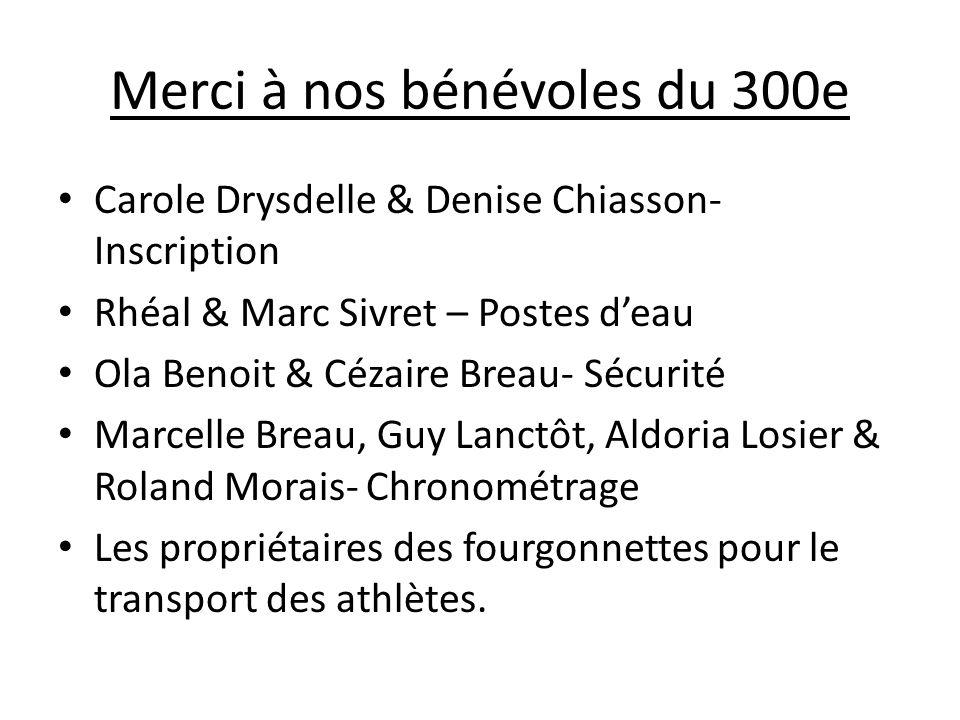 Merci à nos bénévoles du 300e Carole Drysdelle & Denise Chiasson- Inscription Rhéal & Marc Sivret – Postes deau Ola Benoit & Cézaire Breau- Sécurité M