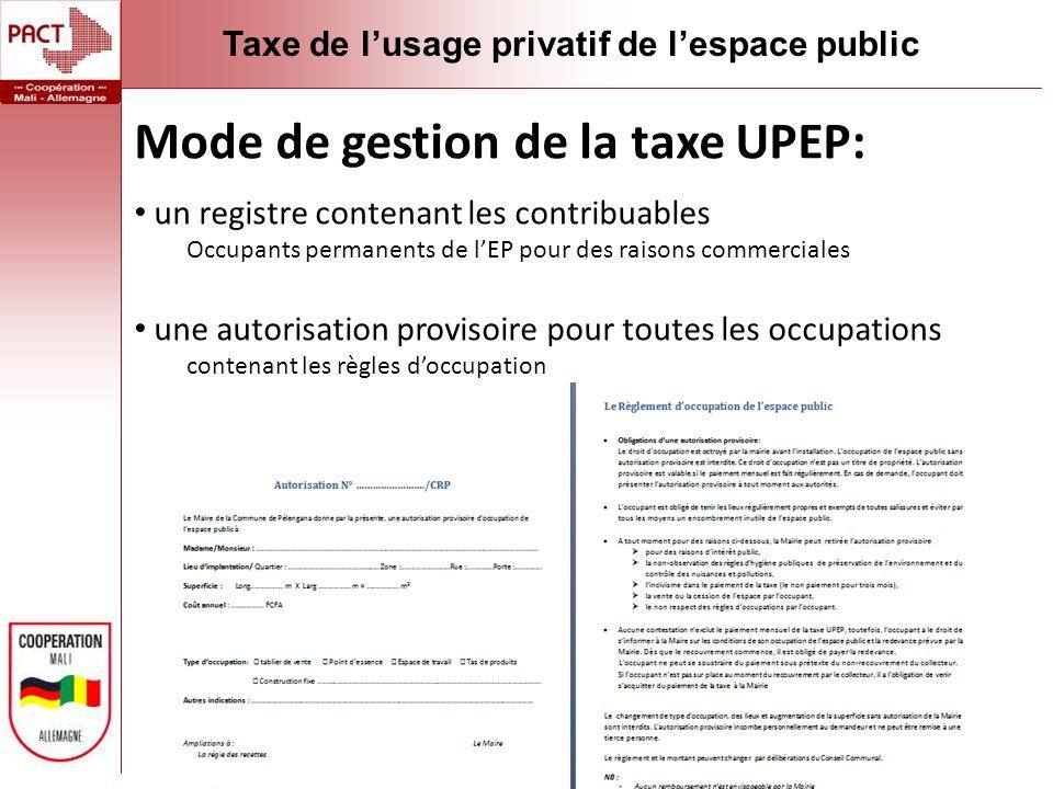 Mode de gestion de la taxe UPEP: un registre contenant les contribuables Occupants permanents de lEP pour des raisons commerciales une autorisation provisoire pour toutes les occupations contenant les règles doccupation Taxe de lusage privatif de lespace public