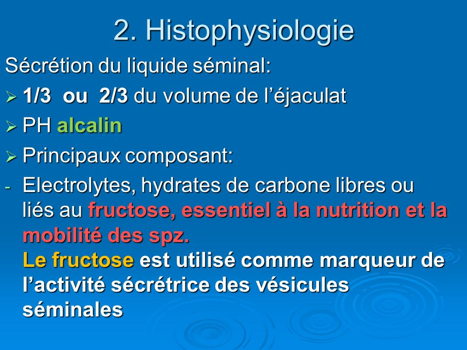 2. Histophysiologie Sécrétion du liquide séminal: 1/3 ou 2/3 du volume de léjaculat 1/3 ou 2/3 du volume de léjaculat PH alcalin PH alcalin Principaux