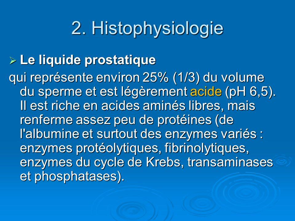 2. Histophysiologie Le liquide prostatique Le liquide prostatique qui représente environ 25% (1/3) du volume du sperme et est légèrement acide (pH 6,5