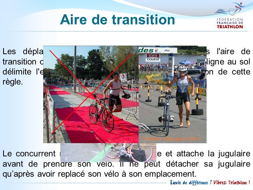 Les déplacements avec le vélo seffectuent dans l'aire de transition obligatoirement à pied, vélo à la main. Une ligne au sol délimite l'entrée et la s