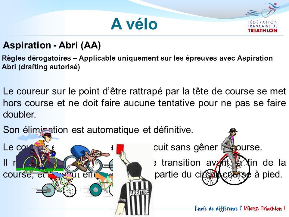 Aspiration - Abri (AA) Règles dérogatoires – Applicable uniquement sur les épreuves avec Aspiration Abri (drafting autorisé) Le coureur sur le point d