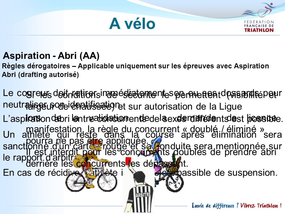 Aspiration - Abri (AA) Règles dérogatoires – Applicable uniquement sur les épreuves avec Aspiration Abri (drafting autorisé) Le coureur doit retirer i