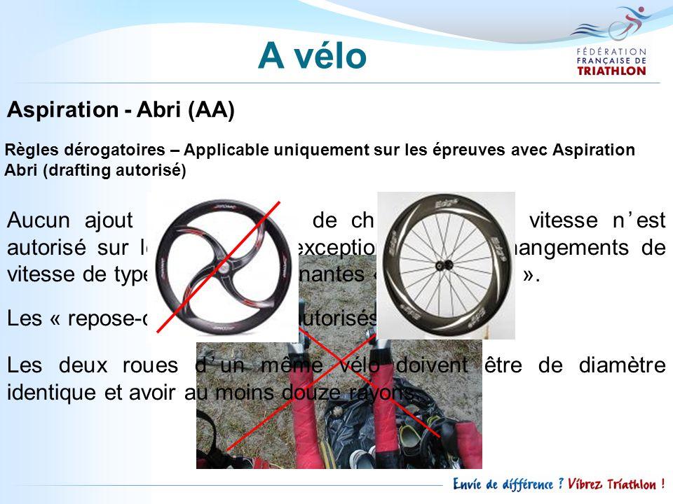 Aspiration - Abri (AA) Règles dérogatoires – Applicable uniquement sur les épreuves avec Aspiration Abri (drafting autorisé) Aucun ajout droit ou levi
