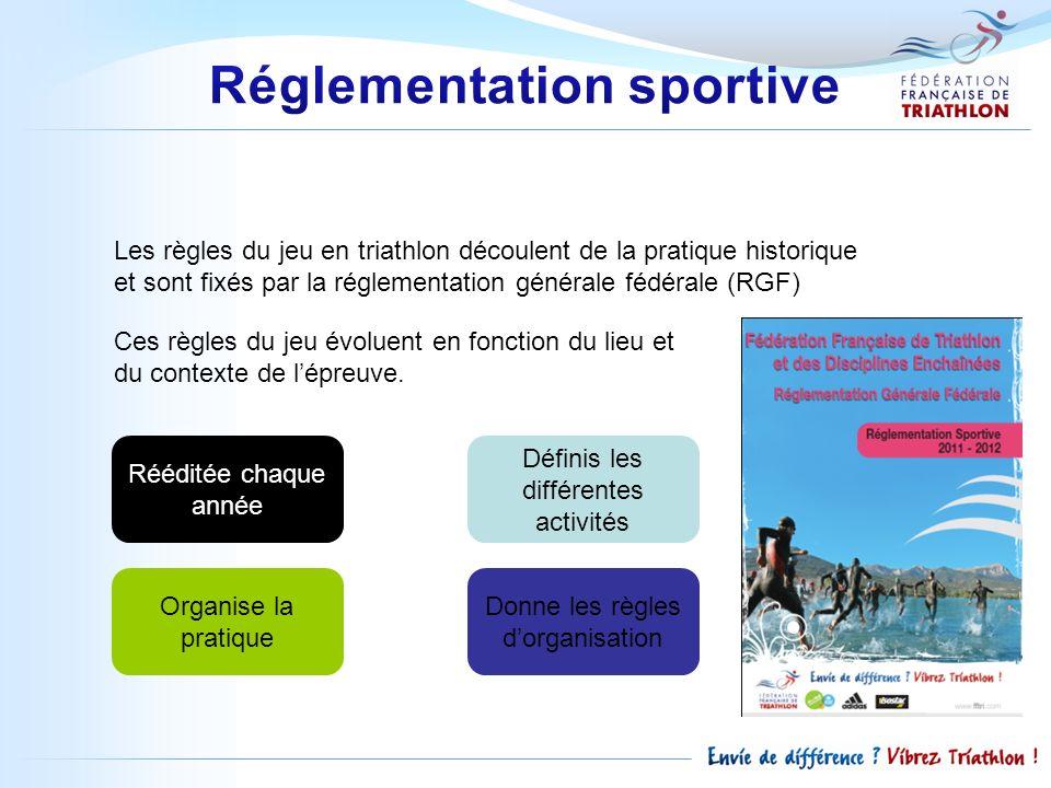 Les règles du jeu en triathlon découlent de la pratique historique et sont fixés par la réglementation générale fédérale (RGF) Ces règles du jeu évolu