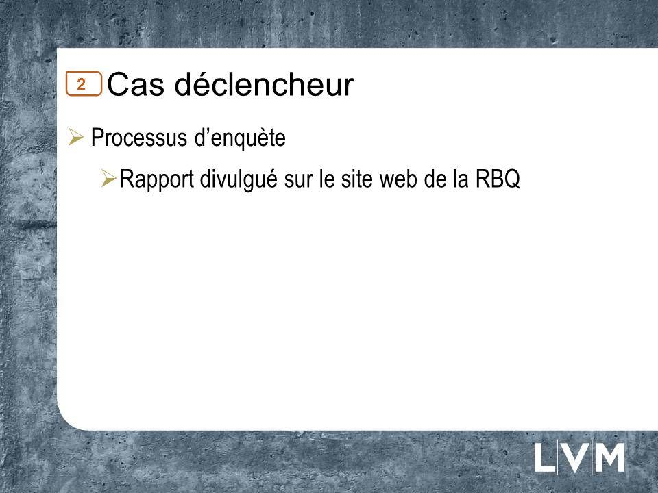 Cas déclencheur Processus denquète Rapport divulgué sur le site web de la RBQ 2