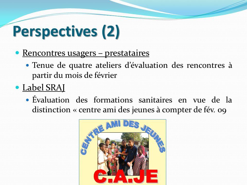 Perspectives (2) Rencontres usagers – prestataires Tenue de quatre ateliers dévaluation des rencontres à partir du mois de février Label SRAJ Évaluati
