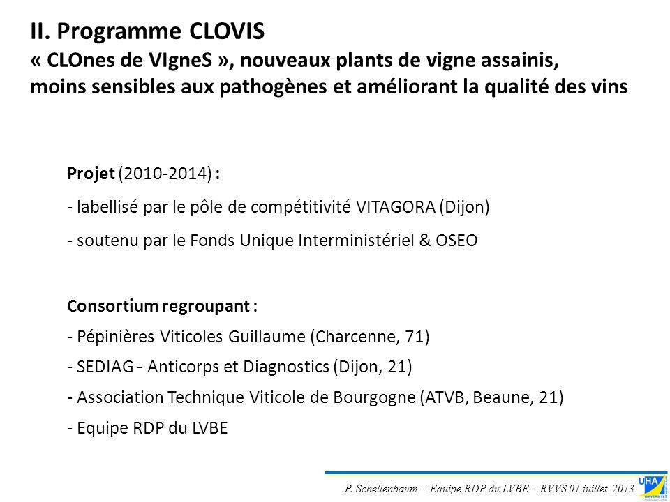 P. Schellenbaum – Equipe RDP du LVBE – RVVS 01 juillet 2013 Projet (2010-2014) : - labellisé par le pôle de compétitivité VITAGORA (Dijon) - soutenu p