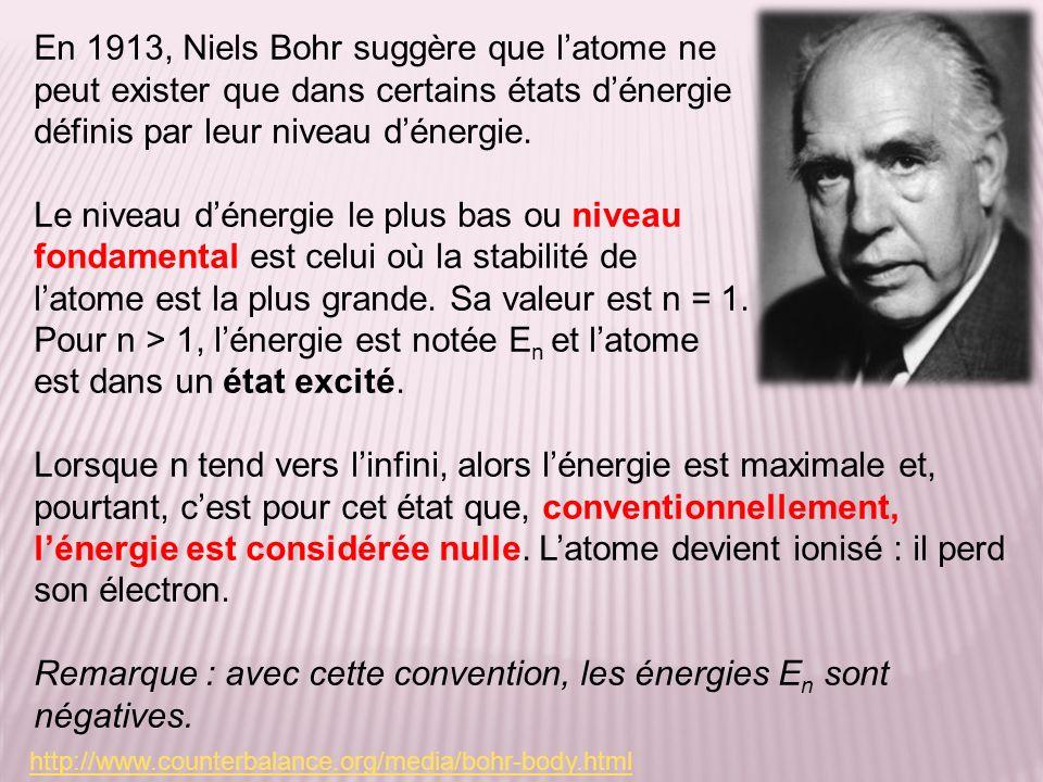 En 1913, Niels Bohr suggère que latome ne peut exister que dans certains états dénergie définis par leur niveau dénergie. Le niveau dénergie le plus b