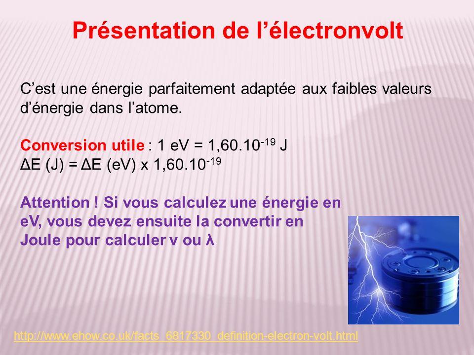 Présentation de lélectronvolt Cest une énergie parfaitement adaptée aux faibles valeurs dénergie dans latome. Conversion utile : 1 eV = 1,60.10 -19 J