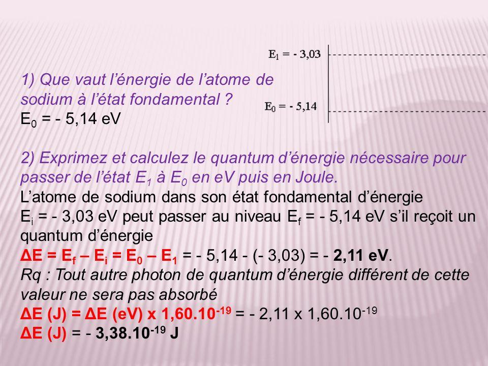 1) Que vaut lénergie de latome de sodium à létat fondamental ? E 0 = - 5,14 eV 2) Exprimez et calculez le quantum dénergie nécessaire pour passer de l