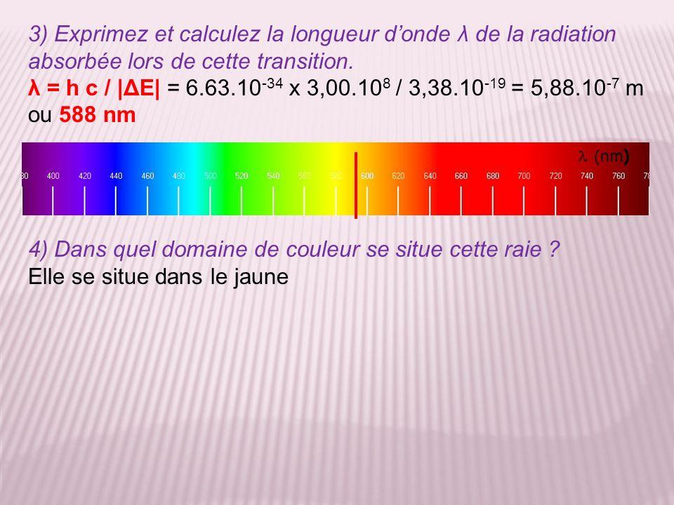 3) Exprimez et calculez la longueur donde λ de la radiation absorbée lors de cette transition. λ = h c / |ΔE| = 6.63.10 -34 x 3,00.10 8 / 3,38.10 -19
