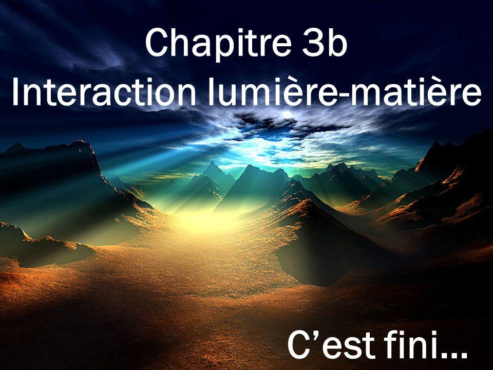 Chapitre 3b Interaction lumière-matière Cest fini…