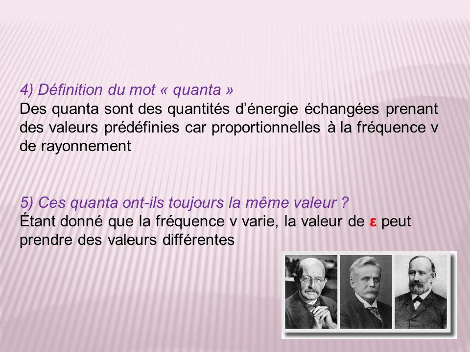 4) Définition du mot « quanta » Des quanta sont des quantités dénergie échangées prenant des valeurs prédéfinies car proportionnelles à la fréquence v