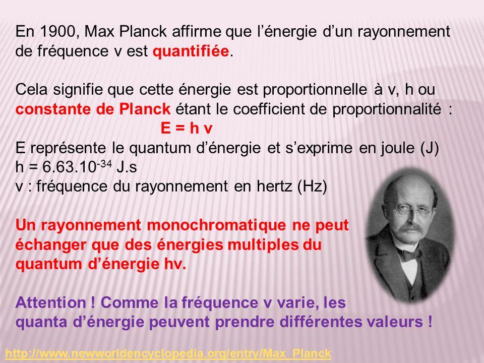 En 1900, Max Planck affirme que lénergie dun rayonnement de fréquence ν est quantifiée. Cela signifie que cette énergie est proportionnelle à ν, h ou