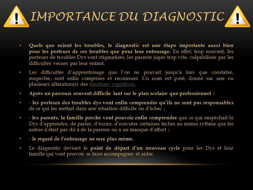 IMPORTANCE DU DIAGNOSTIC Quels que soient les troubles, le diagnostic est une étape importante aussi bien pour les porteurs de ces troubles que pour l