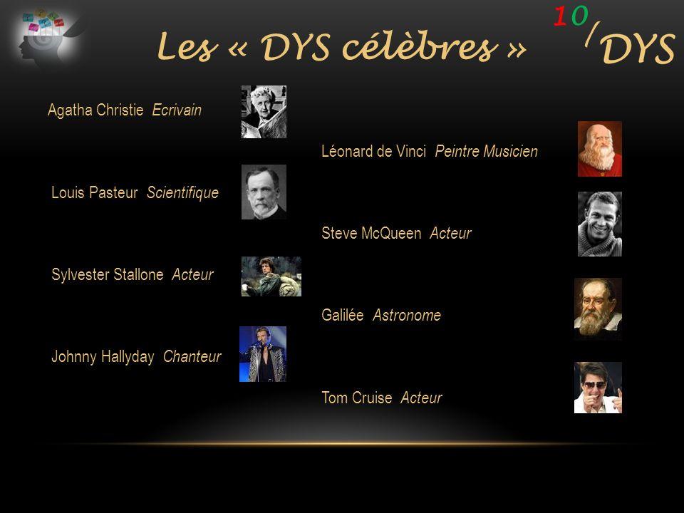 1010 / Les « DYS célèbres » Agatha Christie Ecrivain Léonard de Vinci Peintre Musicien Louis Pasteur Scientifique Steve McQueen Acteur Sylvester Stall