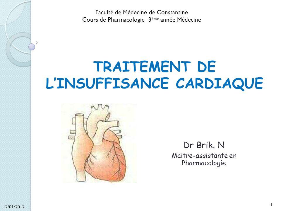 TRAITEMENT DE LINSUFFISANCE CARDIAQUE Dr Brik. N Maitre-assistante en Pharmacologie 12/01/2012 1 Faculté de Médecine de Constantine Cours de Pharmacol
