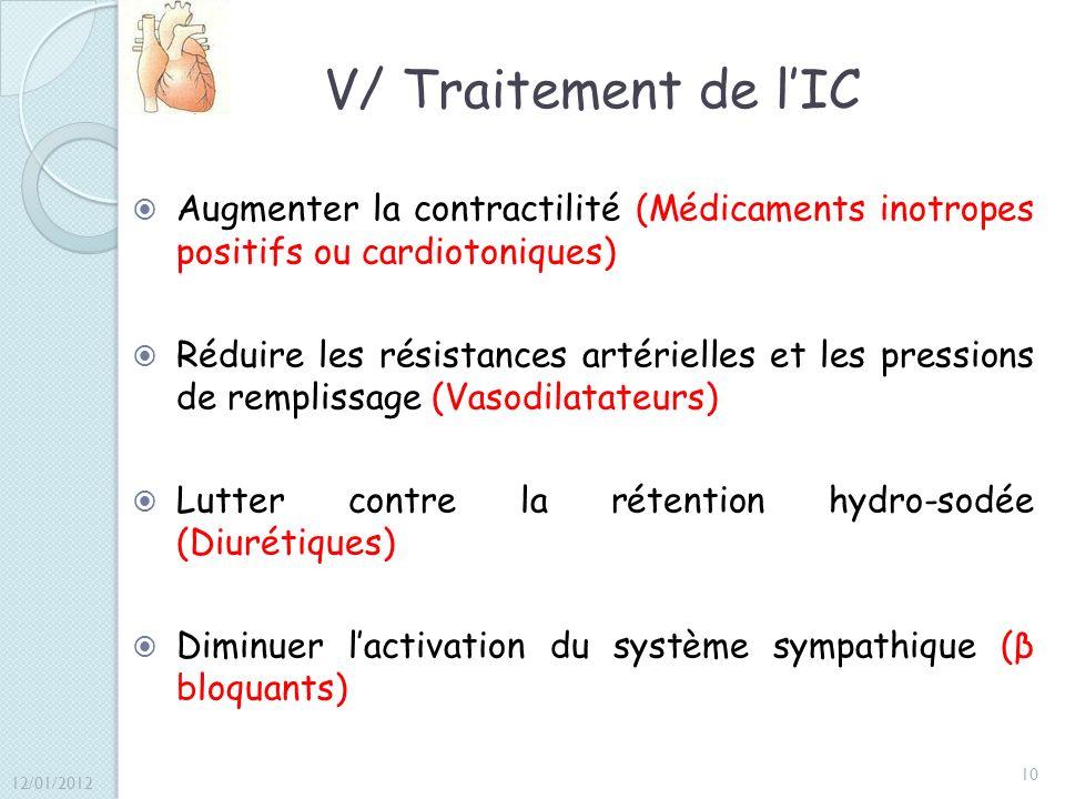 V/ Traitement de lIC Augmenter la contractilité (Médicaments inotropes positifs ou cardiotoniques) Réduire les résistances artérielles et les pression