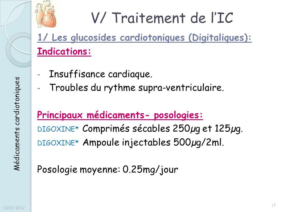 V/ Traitement de lIC 1/ Les glucosides cardiotoniques (Digitaliques): Indications: - Insuffisance cardiaque. - Troubles du rythme supra-ventriculaire.