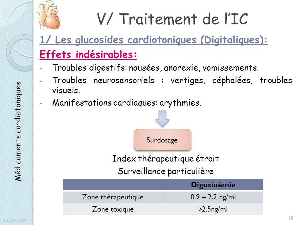 V/ Traitement de lIC 1/ Les glucosides cardiotoniques (Digitaliques): Effets indésirables: - Troubles digestifs: nausées, anorexie, vomissements. - Tr