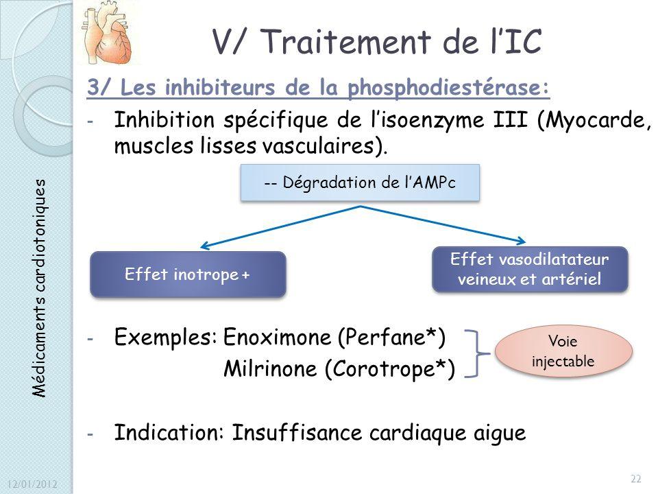 V/ Traitement de lIC 3/ Les inhibiteurs de la phosphodiestérase: - Inhibition spécifique de lisoenzyme III (Myocarde, muscles lisses vasculaires). - E