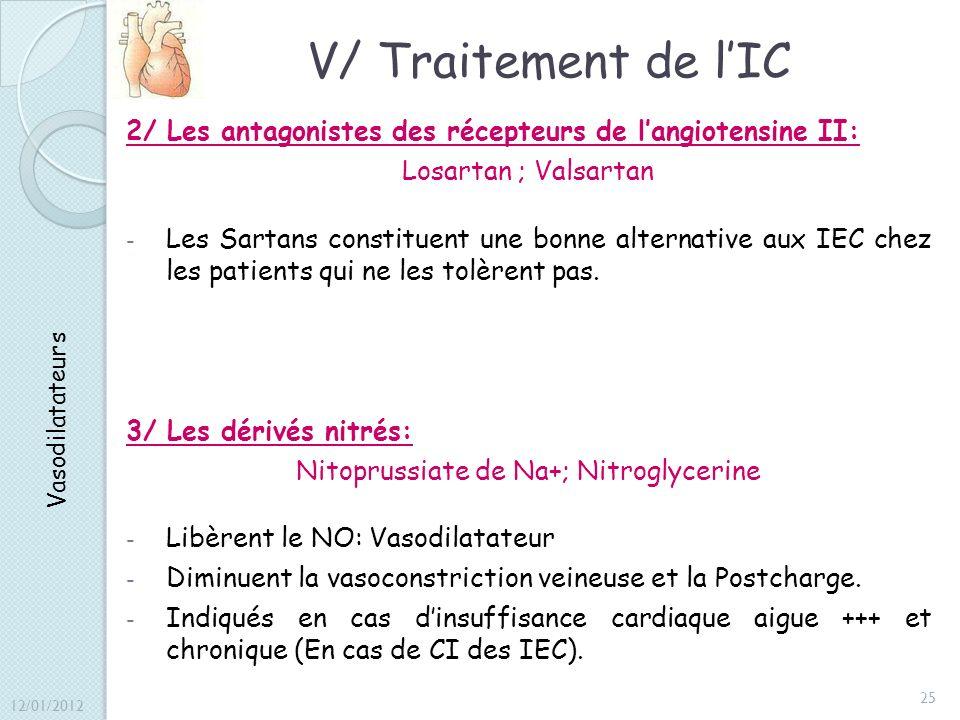V/ Traitement de lIC 2/ Les antagonistes des récepteurs de langiotensine II: Losartan ; Valsartan - Les Sartans constituent une bonne alternative aux