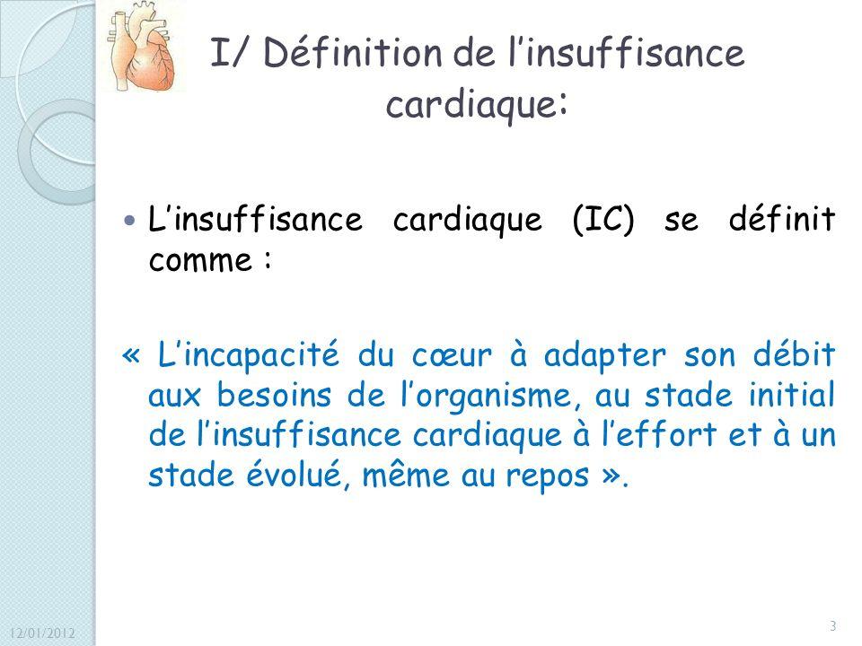 I/ Définition de linsuffisance cardiaque : Linsuffisance cardiaque (IC) se définit comme : « Lincapacité du cœur à adapter son débit aux besoins de lo