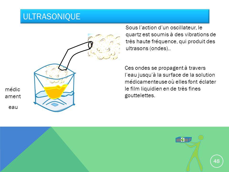 ULTRASONIQUE eau médic ament Sous laction dun oscillateur, le quartz est soumis à des vibrations de très haute fréquence, qui produit des ultrasons (o