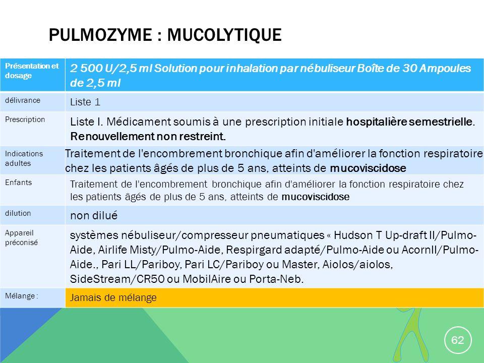 PULMOZYME : MUCOLYTIQUE 62 Présentation et dosage 2 500 U/2,5 ml Solution pour inhalation par nébuliseur Boîte de 30 Ampoules de 2,5 ml délivrance Lis