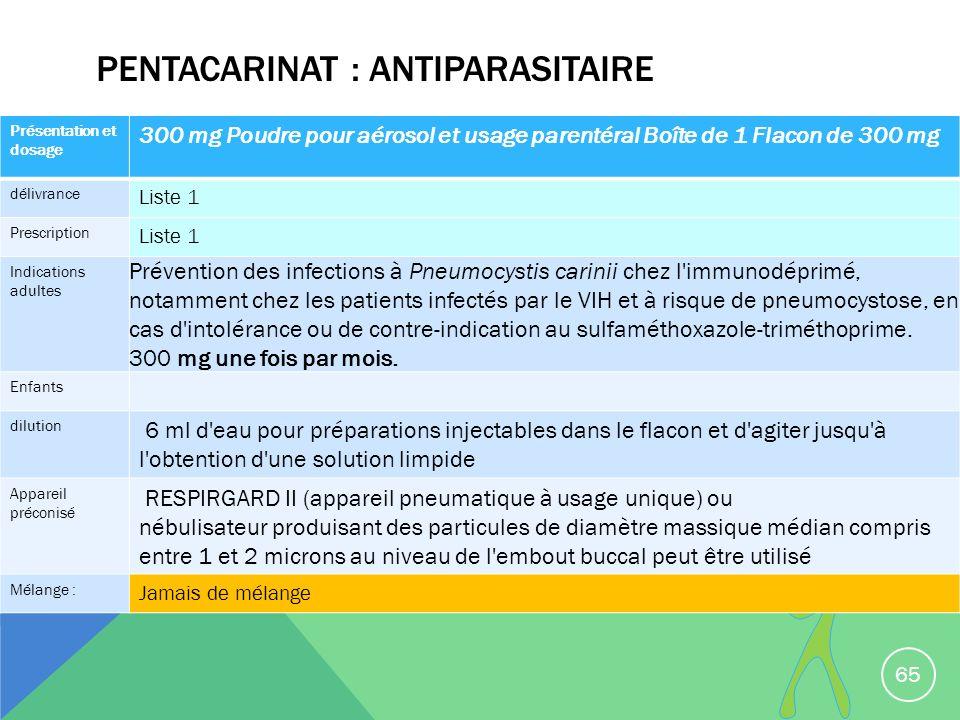 PENTACARINAT : ANTIPARASITAIRE 65 Présentation et dosage 300 mg Poudre pour aérosol et usage parentéral Boîte de 1 Flacon de 300 mg délivrance Liste 1