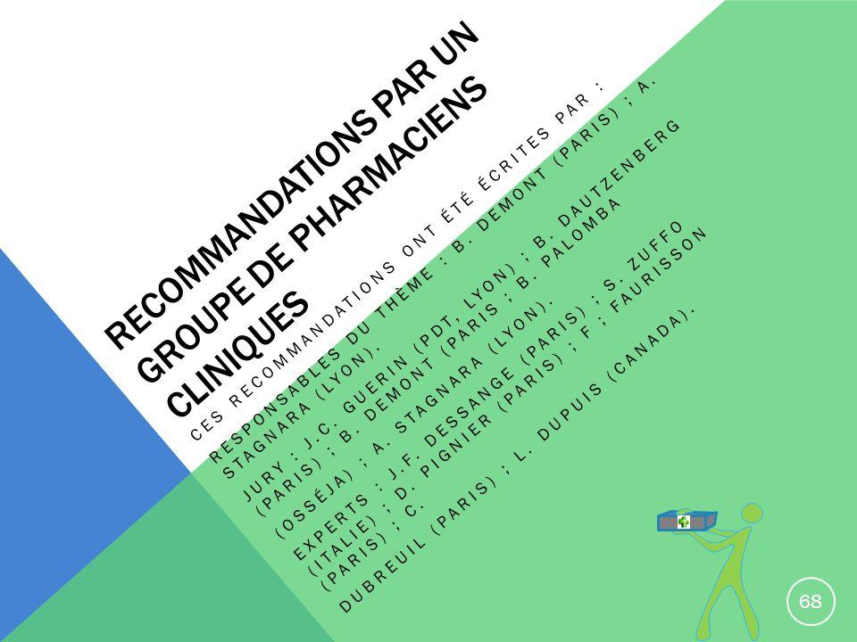 RECOMMANDATIONS PAR UN GROUPE DE PHARMACIENS CLINIQUES CES RECOMMANDATIONS ONT ÉTÉ ÉCRITES PAR : RESPONSABLES DU THÈME : B. DEMONT (PARIS) ; A. STAGNA