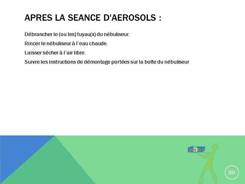 APRES LA SEANCE D'AEROSOLS : Débrancher le (ou les) tuyau(x) du nébuliseur. Rincer le nébuliseur à leau chaude. Laisser sécher à lair libre. Suivre le