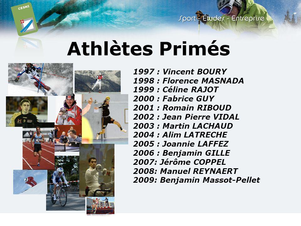 Athlètes Primés 1997 : Vincent BOURY 1998 : Florence MASNADA 1999 : Céline RAJOT 2000 : Fabrice GUY 2001 : Romain RIBOUD 2002 : Jean Pierre VIDAL 2003
