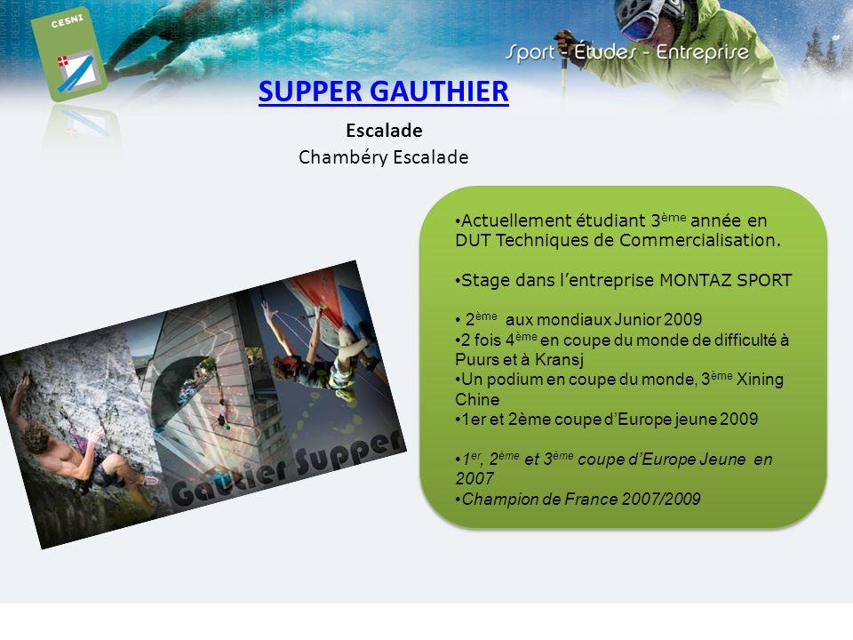 SUPPER GAUTHIER Escalade Chambéry Escalade Actuellement étudiant 3 ème année en DUT Techniques de Commercialisation. Stage dans lentreprise MONTAZ SPO