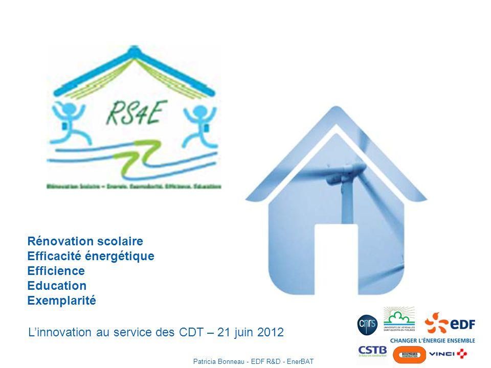 Rénovation scolaire Efficacité énergétique Efficience Education Exemplarité Linnovation au service des CDT – 21 juin 2012 Patricia Bonneau - EDF R&D - EnerBAT