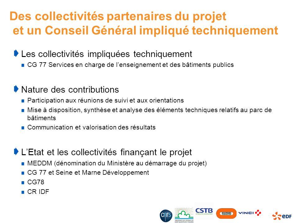 Des collectivités partenaires du projet et un Conseil Général impliqué techniquement Les collectivités impliquées techniquement CG 77 Services en char