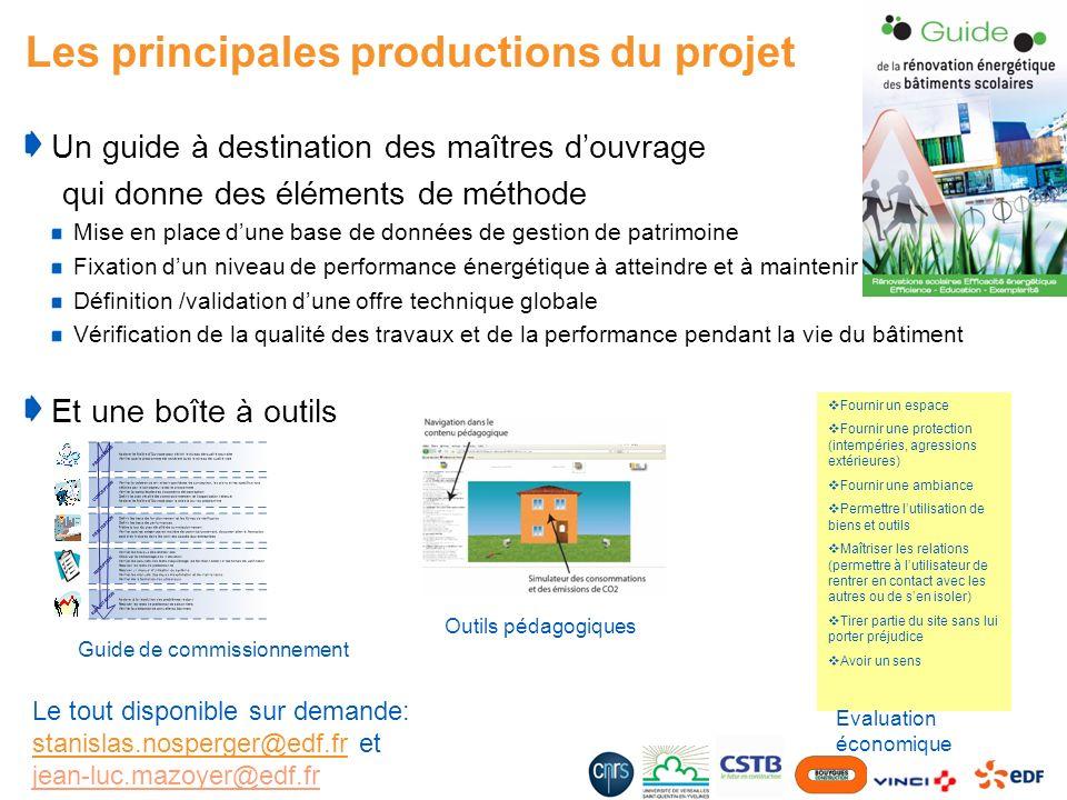 Les principales productions du projet Un guide à destination des maîtres douvrage qui donne des éléments de méthode Mise en place dune base de données