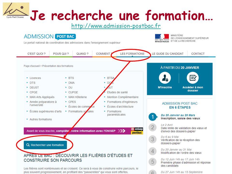 Je recherche une formation… http://www.admission-postbac.fr