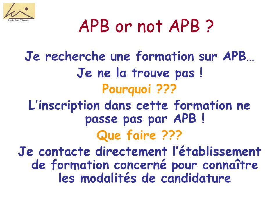 APB or not APB .Je recherche une formation sur APB… Je ne la trouve pas .