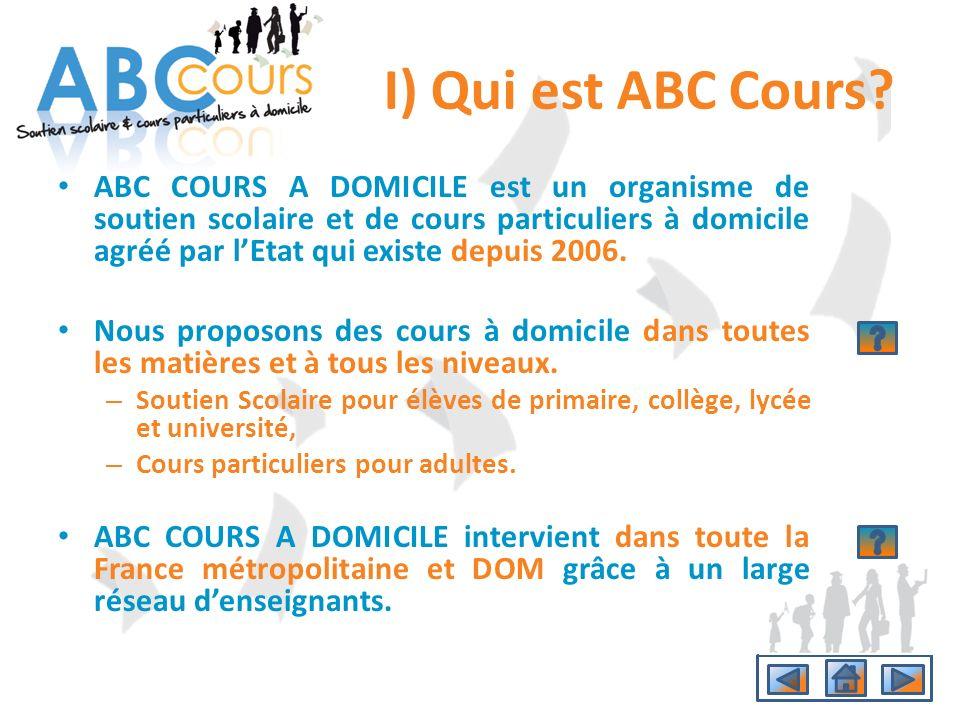 I) Qui est ABC Cours? ABC COURS A DOMICILE est un organisme de soutien scolaire et de cours particuliers à domicile agréé par lEtat qui existe depuis
