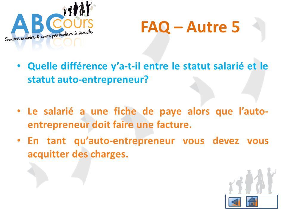Quelle différence ya-t-il entre le statut salarié et le statut auto-entrepreneur? Le salarié a une fiche de paye alors que lauto- entrepreneur doit fa