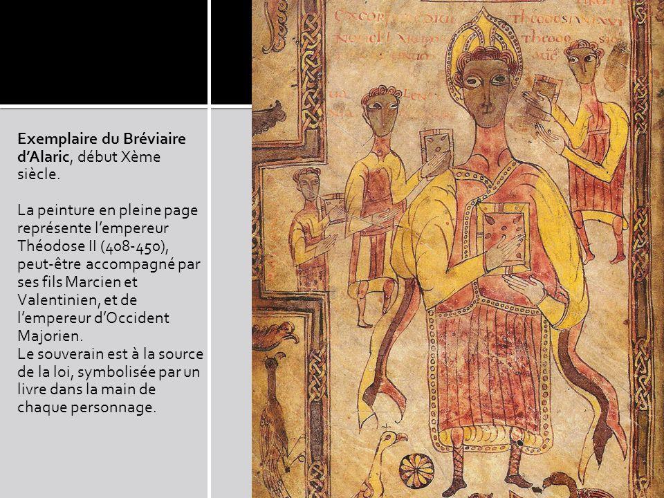 Exemplaire du Bréviaire dAlaric, début Xème siècle. La peinture en pleine page représente lempereur Théodose II (408-450), peut-être accompagné par se