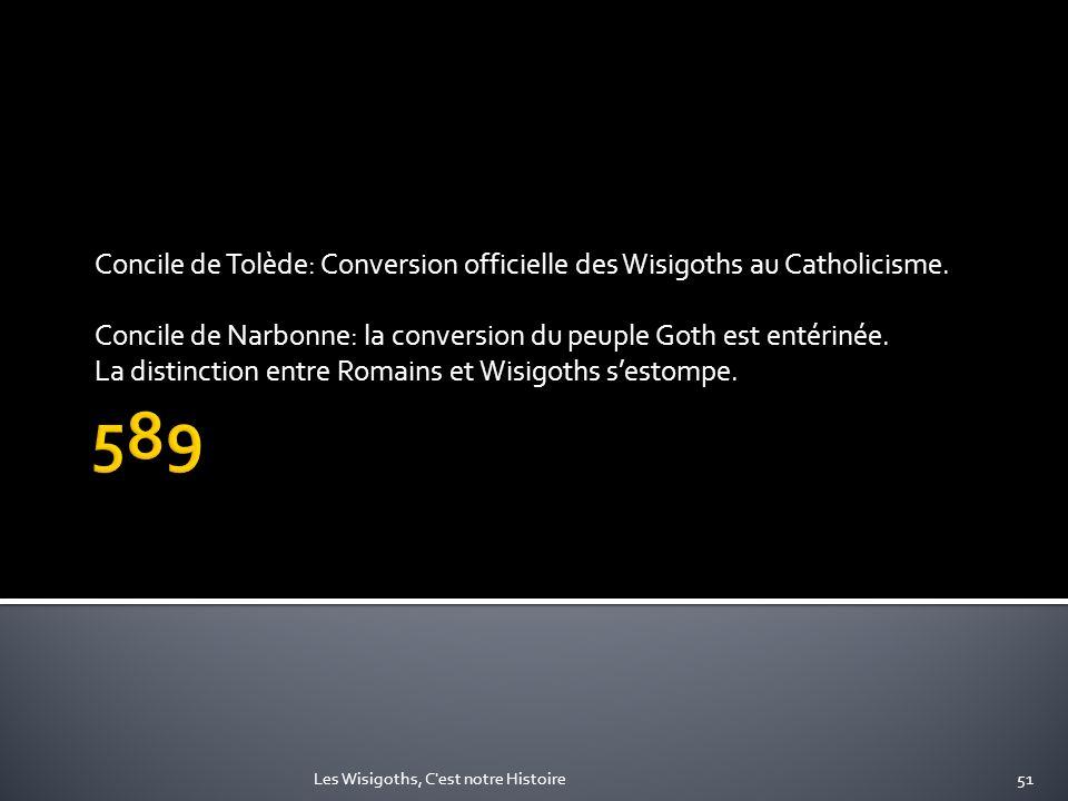 Concile de Tolède: Conversion officielle des Wisigoths au Catholicisme. Concile de Narbonne: la conversion du peuple Goth est entérinée. La distinctio